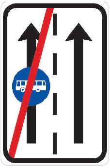 Konec vyhrazeného jízdního pruhu
