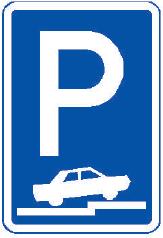 Parkoviště částečné stání na chodníku kolmé nebo šikmé