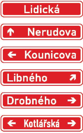 Označení názvu ulice nebo jiného veřejného prostranství