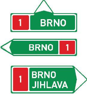 Směrová tabule před nájezdem na dálnici (přímo, vlevo nebo vpravo)