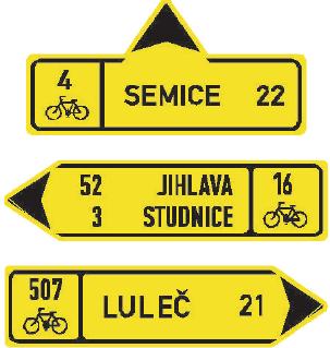 Směrová tabule pro cyklisty (přímo, vlevo nebo vpravo)