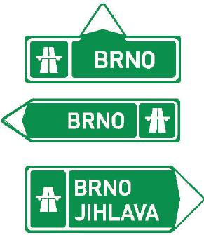 Směrová tabule pro příjezd k dálnici (přímo, vlevo nebo vpravo)
