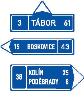 Směrová tabule s cílem (přímo, vlevo nebo vpravo)