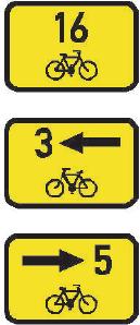 Směrová tabulka pro cyklisty (přímo, vlevo nebo vpravo)