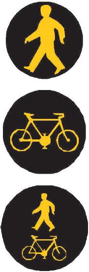 Signál žlutého světla ve tvaru chodce Signál žlutého světla ve tvaru cyklisty Signál žlutého světla ve tvaru chodce a cyklisty