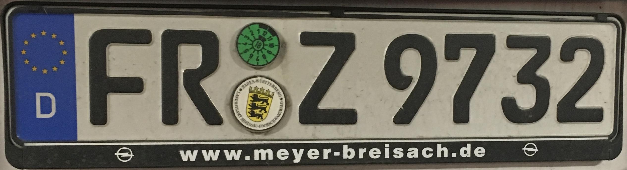 Registrační značky Německo – FR – Freiburg im Breisgau, foto: www.podalnici.cz