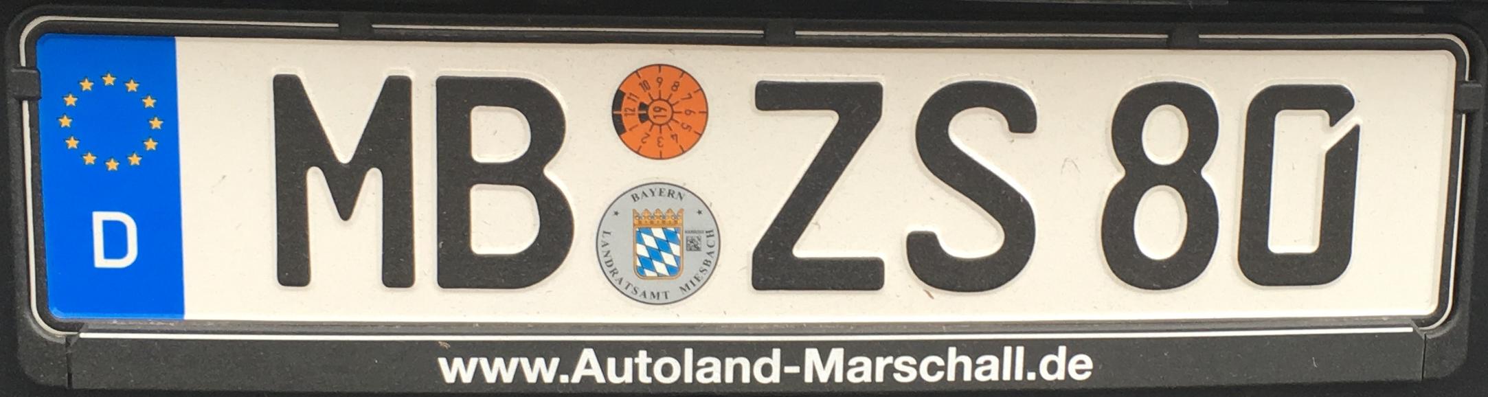 Registrační značky Německo – MB – Miesbach, foto: www.podalnici.cz