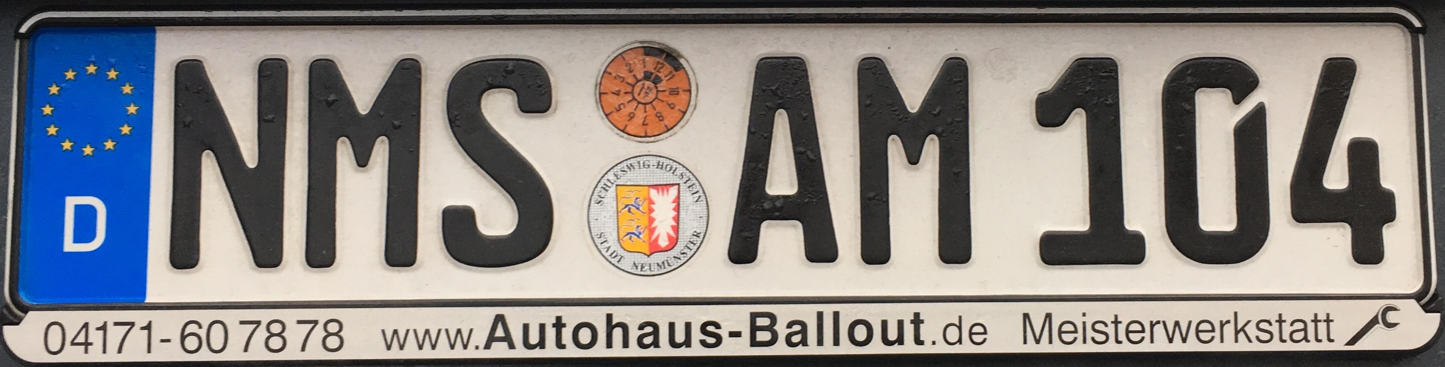 Registrační značka Německo – NMS – Neumünster, foto: www.podalnici.cz