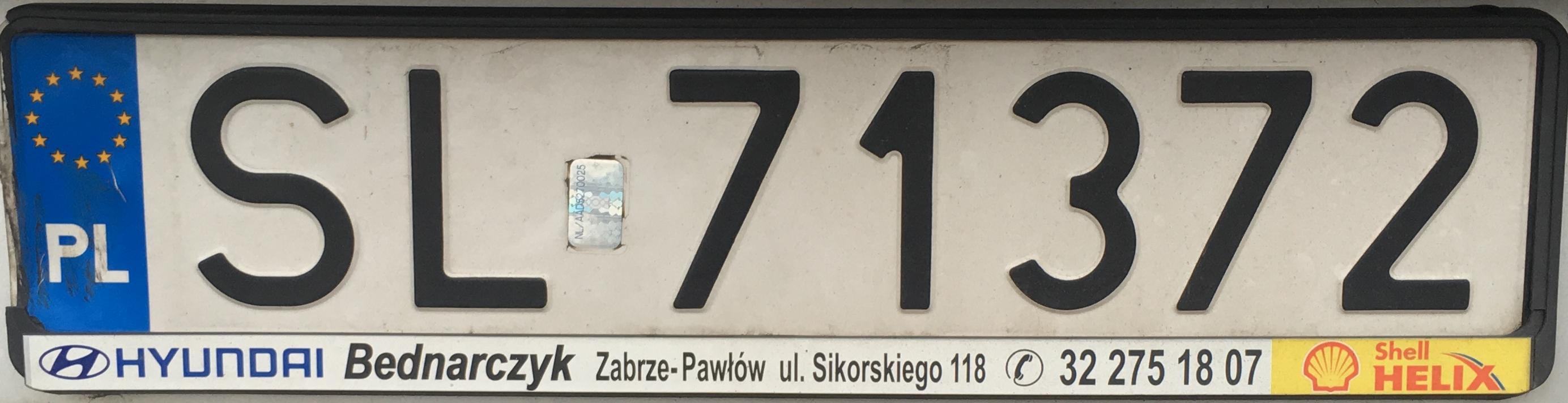 Registrační značka Polsko – SL – Ruda Śląska, foto: www.podalnici.cz