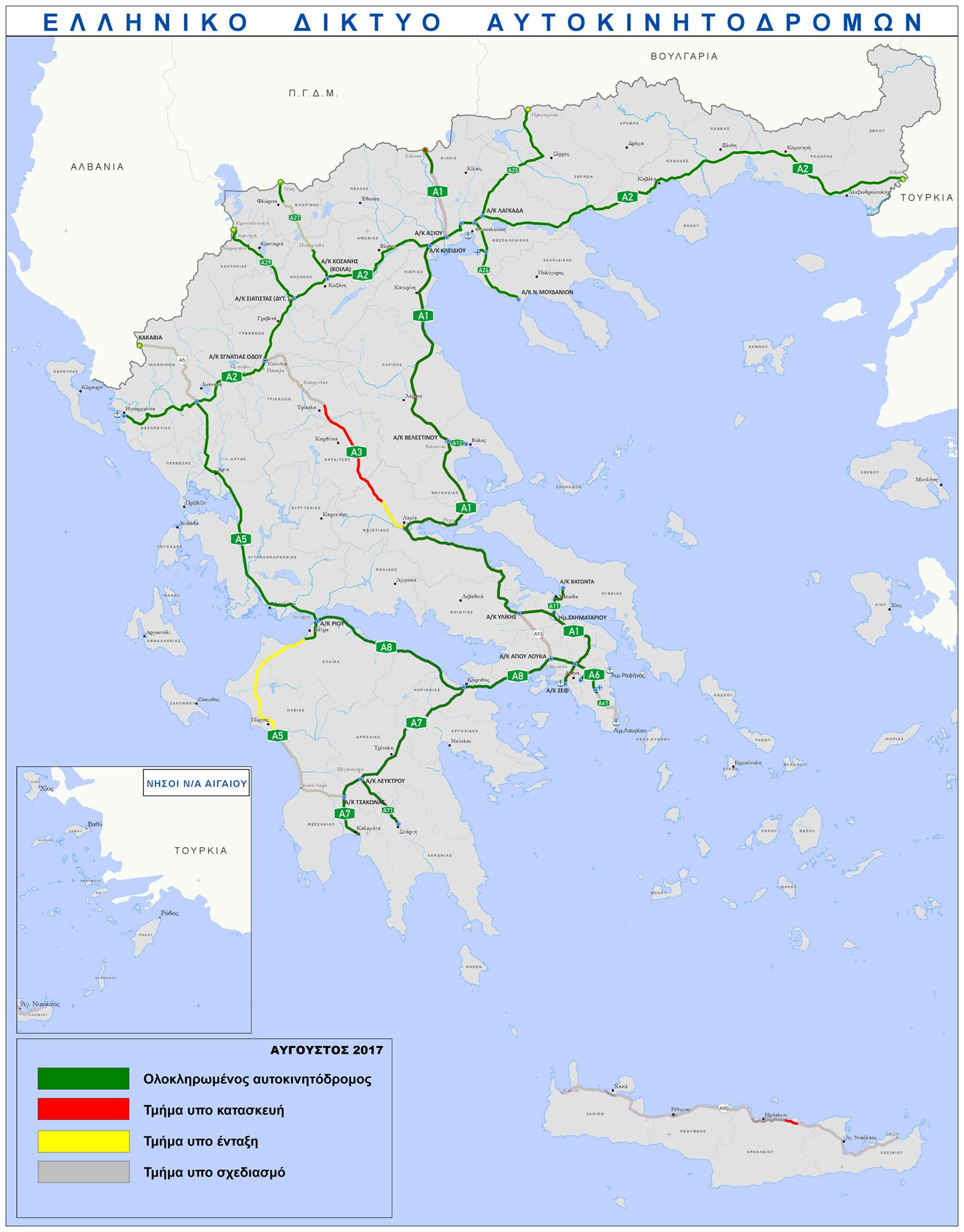 Mapa řecké dálniční sítě