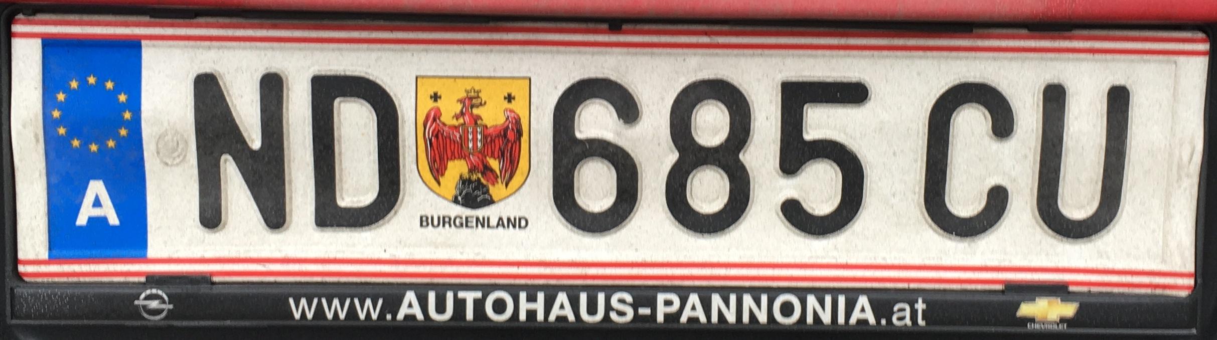 Registrační značka Rakousko - ND - Neusiedl am See, foto: www.podalnici.cz