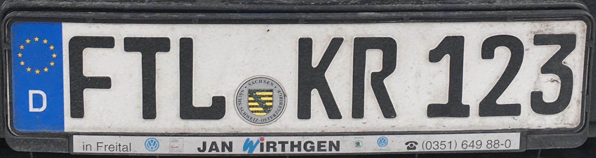 Registrační značky Německo - FTL - Freital, foto: www.podalnici.cz