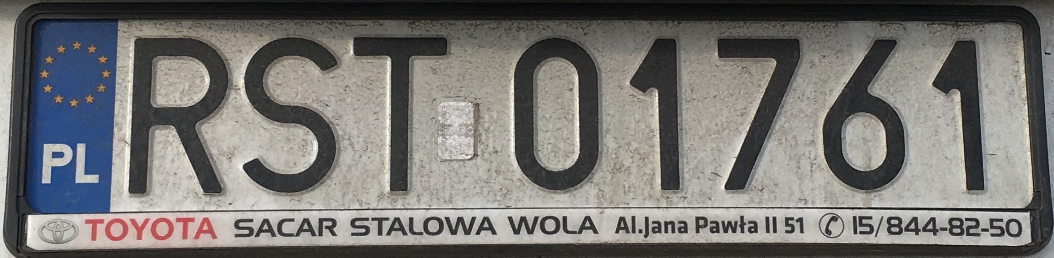 Registrační značka Polsko - RST - Stalowa Wola, foto: www.podalnici.cz