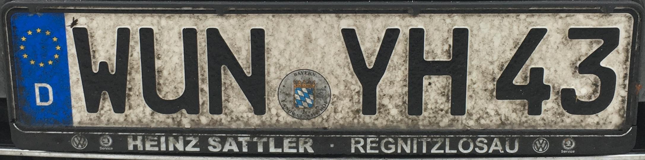 Registrační značky Německo - WUN - Wunsiedel im Fichtelgebirge, foto: www.podalnici.cz