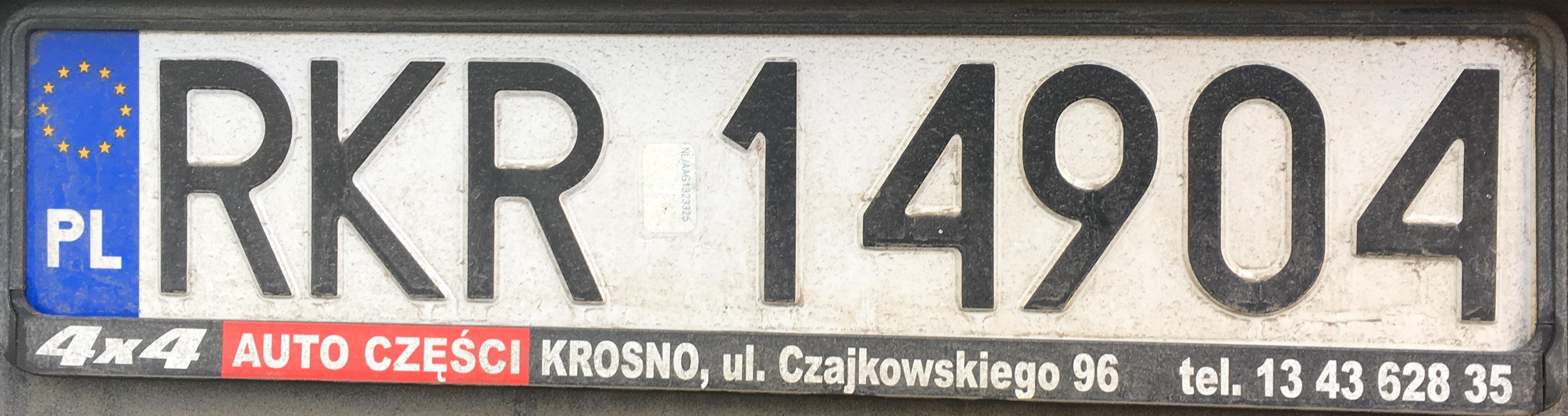Registrační značka Polsko - RKR - Krosno-venkov, foto: www.podalnici.cz