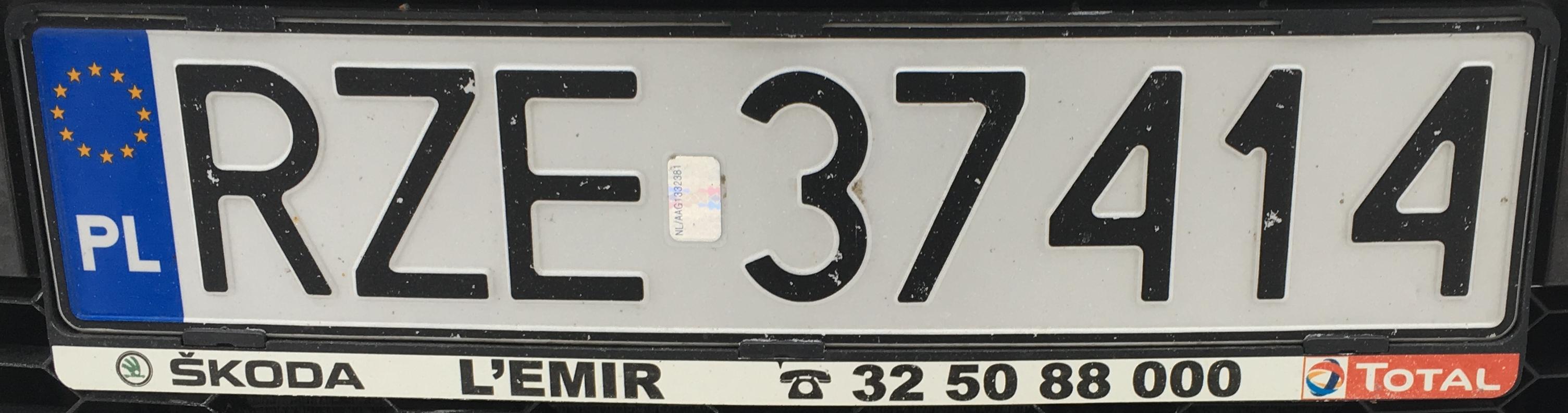 Registrační značka Polsko - RZE - Rzeszów-venkov, foto: www.podalnici.cz