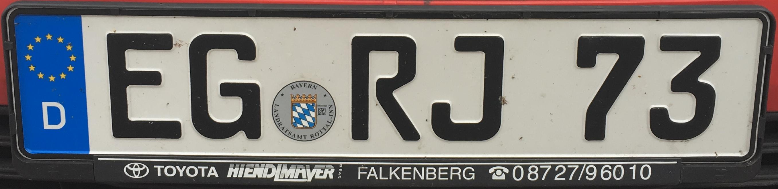 Registrační značky Německo - EG - Eggenfelden, foto: www.podalnici.cz