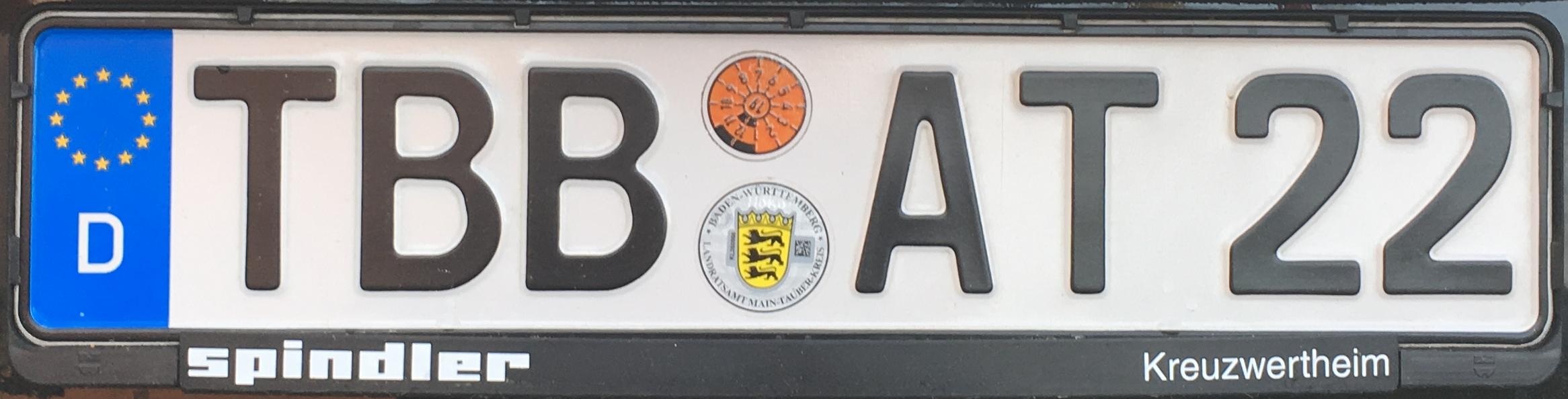 Registrační značka Německo - TBB - Tauberbischofsheim, foto: podalnici.cz