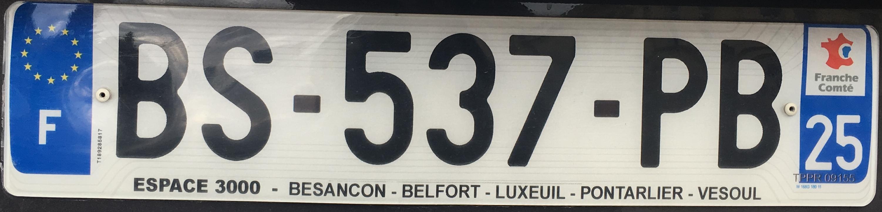 Francouzská registrační značka – 25 - Doubs, foto: www.podalnici.cz