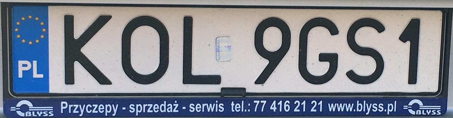 Registrační značka Polsko - KOL - Olkusz, foto: www.podalnici.cz