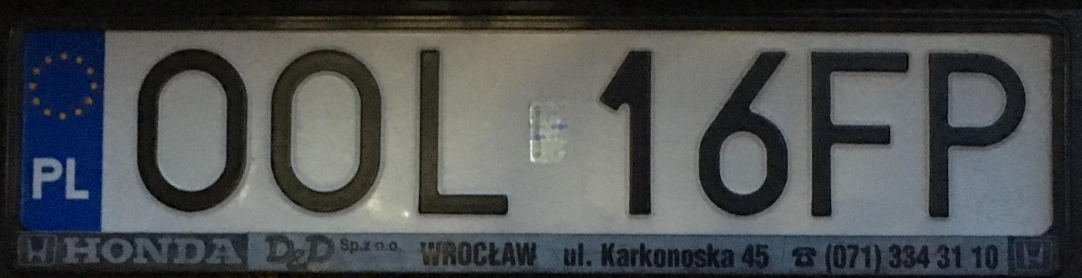 Registrační značka Polsko - OOL - Olesno, foto: www.podalnici.cz