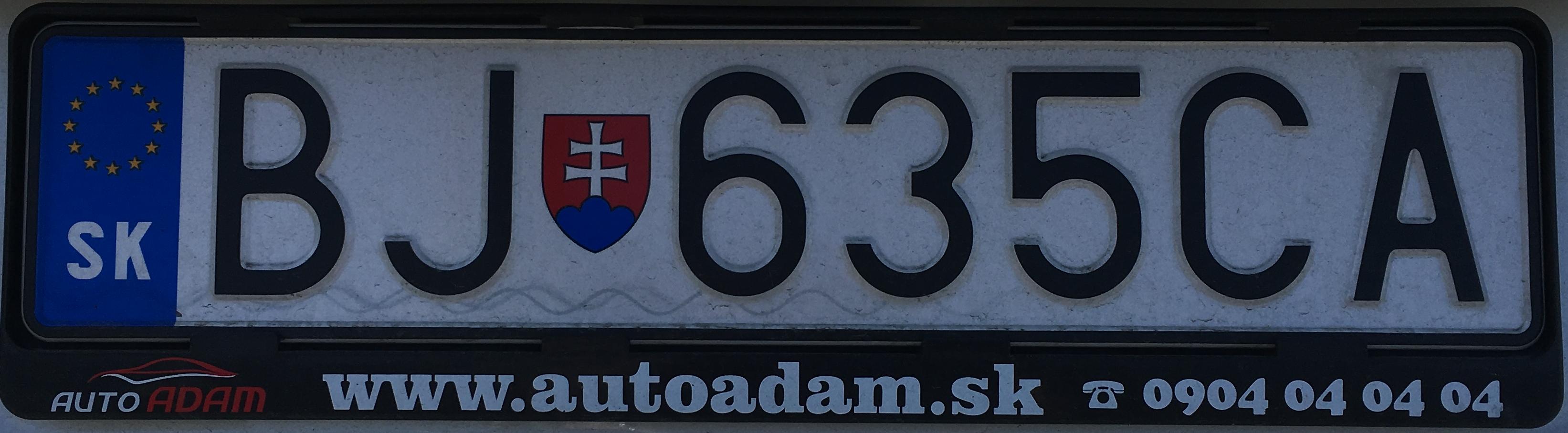 Registrační značka Slovensko - BJ - Bardejov, foto: www.podalnici.cz