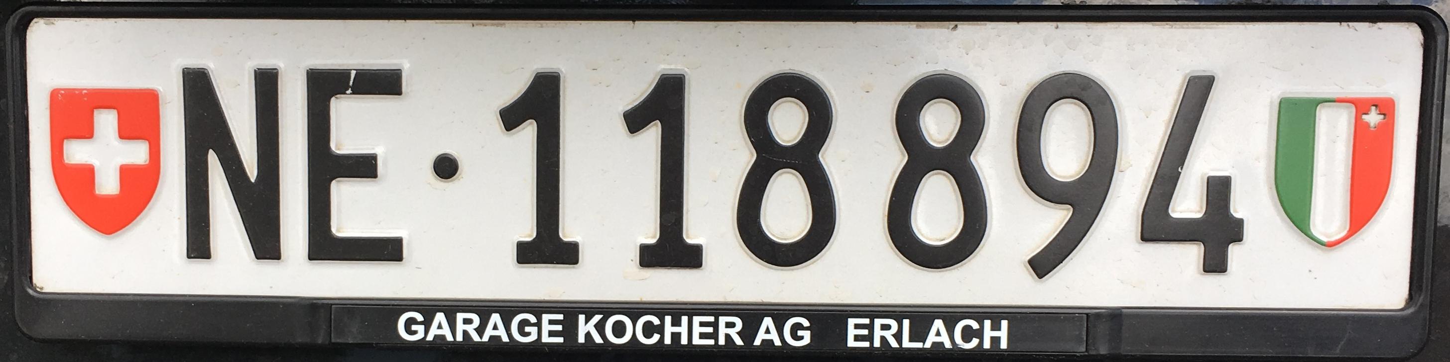 Registrační značky Švýcarsko - NE - Neuchâtel, foto: www.podalnici.cz