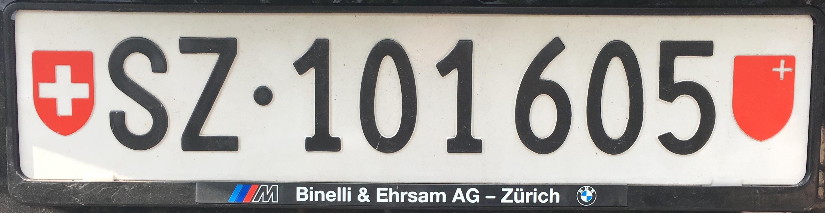Registrační značky Švýcarsko – SZ - Schwyz, foto: www.podalnici.cz