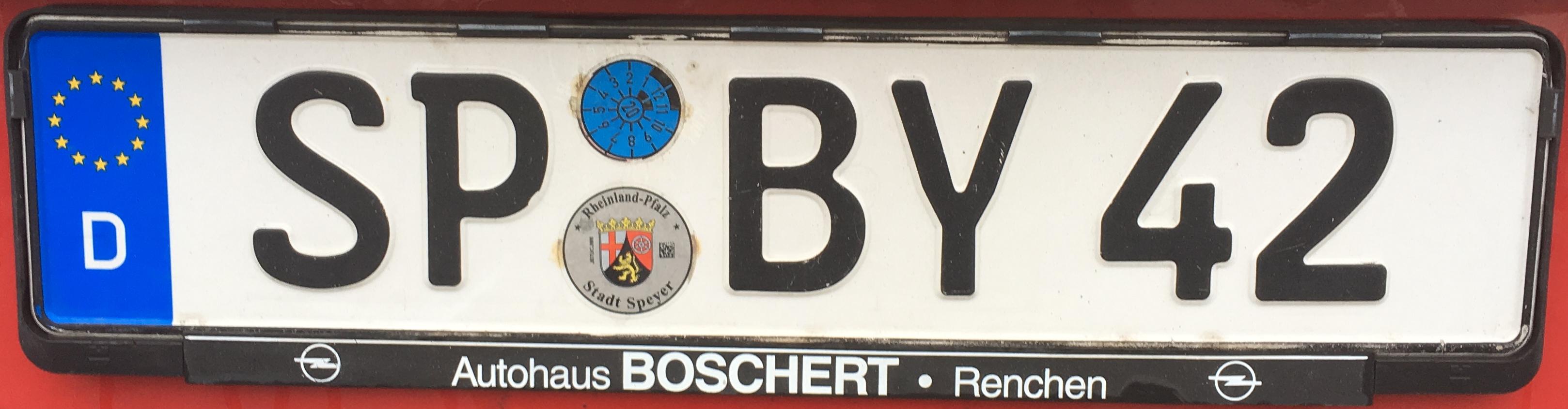 Registrační značky Německo - SP - město Speyer, foto: www.podalnici.cz
