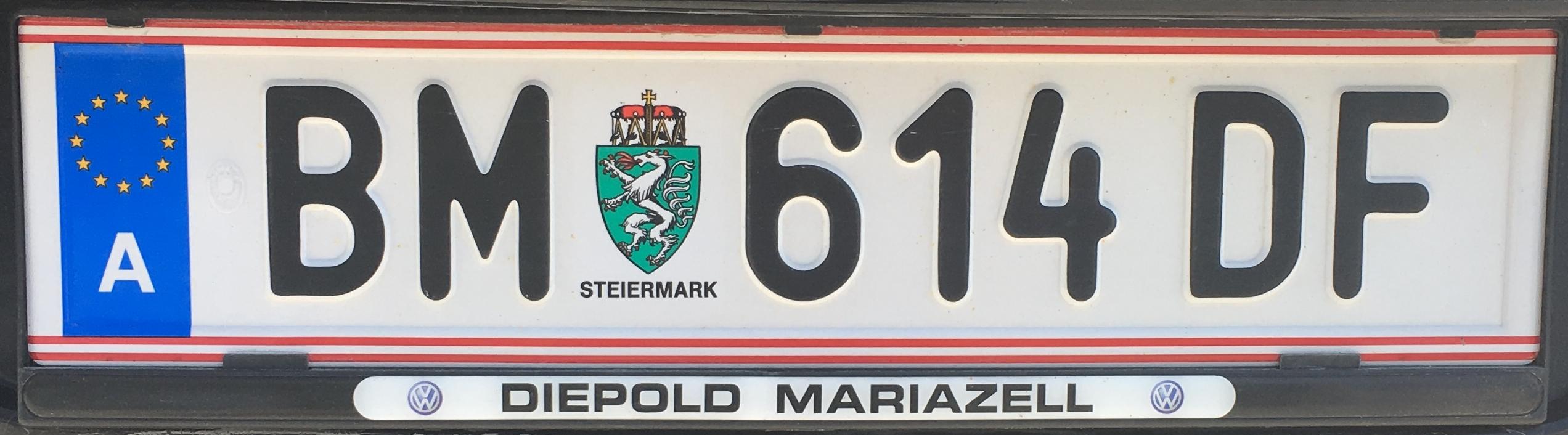 Registrační značka Rakousko - BM - Bruck-Mürzzuschlag, foto: www.podalnici.cz