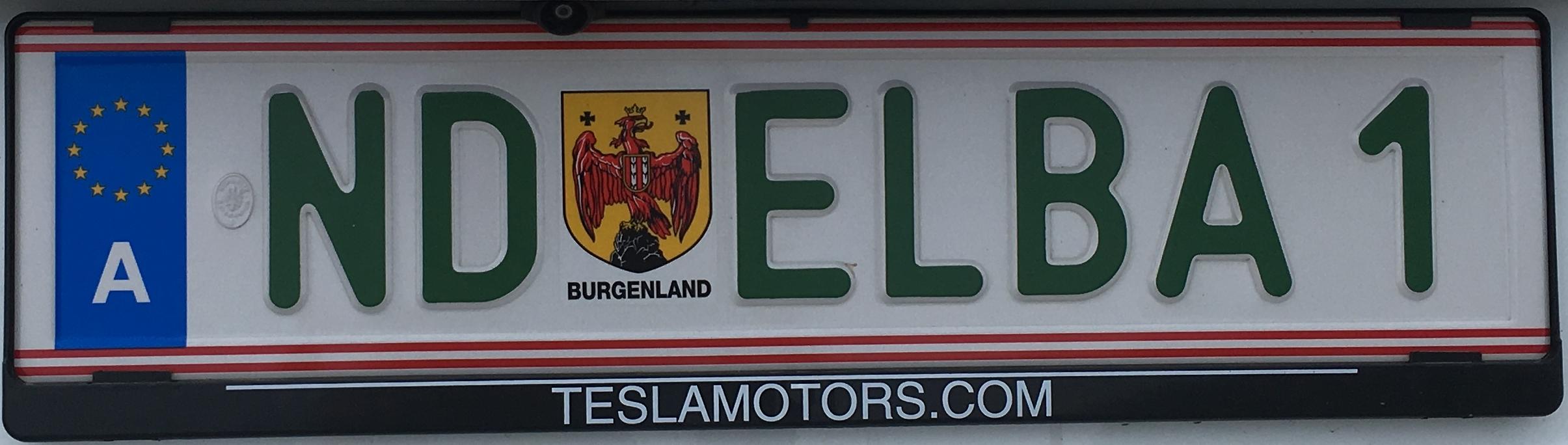 Registrační značka Rakousko – vozidla na elektrický pohon, na přání, foto: www.podalnici.cz