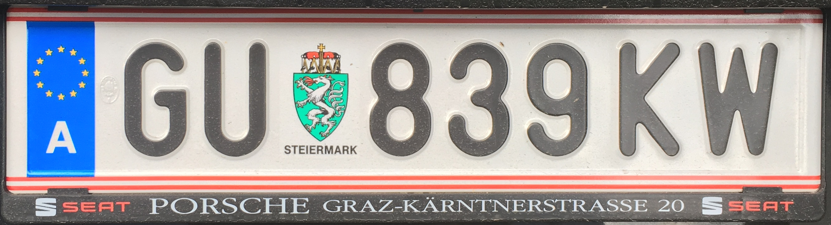 Registrační značka Rakousko - GU - Graz-venkov, foto: www.podalnici.cz