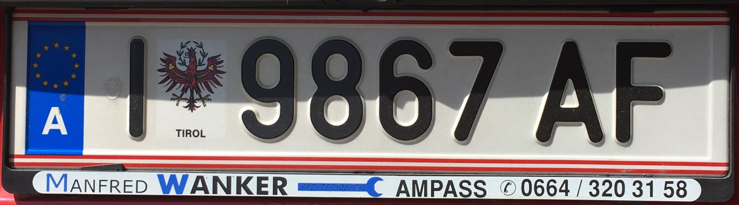 Registrační značka Rakousko - I - město Innsbruck, foto: www.podalnici.cz