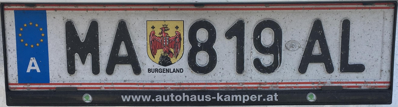 Registrační značka Rakousko - MA - Mattersburg, foto: www.podalnici.cz