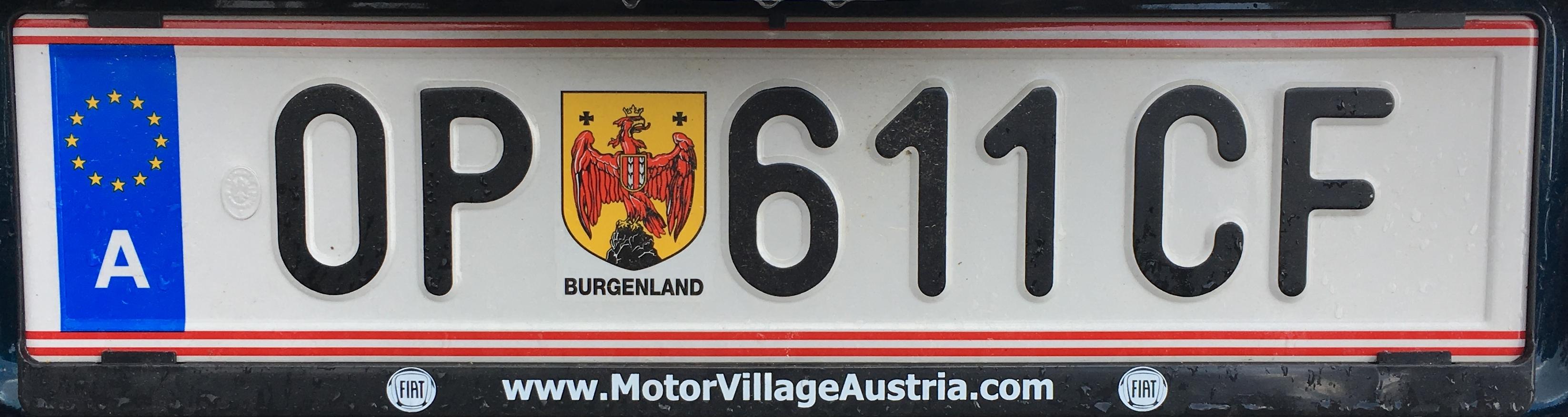 Registrační značka Rakousko - OP – Oberpullendorf, foto: www.podalnici.cz