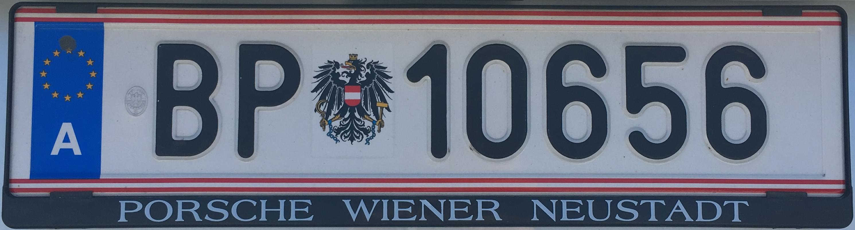 Registrační značka Rakousko – vozidlo spolkové policie, foto: www.podalnici.cz
