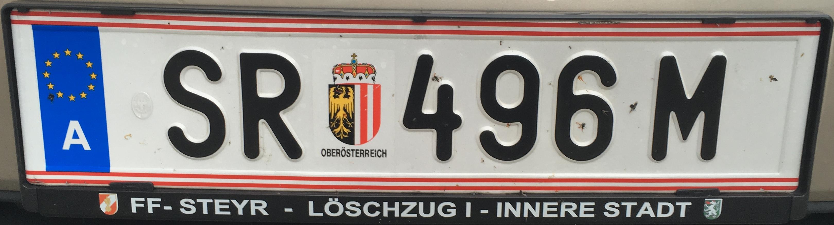 Registrační značka Rakousko - SR - Steyr, foto: www.podalnici.cz