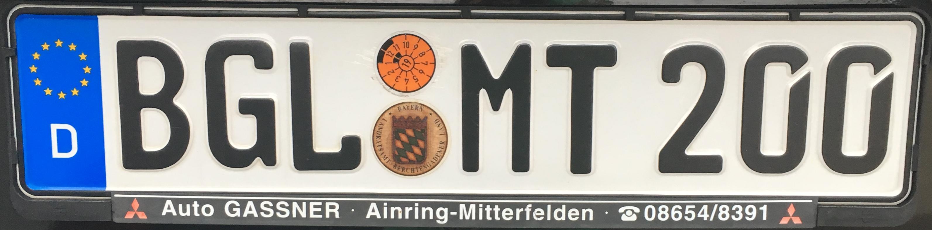 Registrační značky Německo - BGL - Berchtesgadener Land, foto: www.podalnici.cz