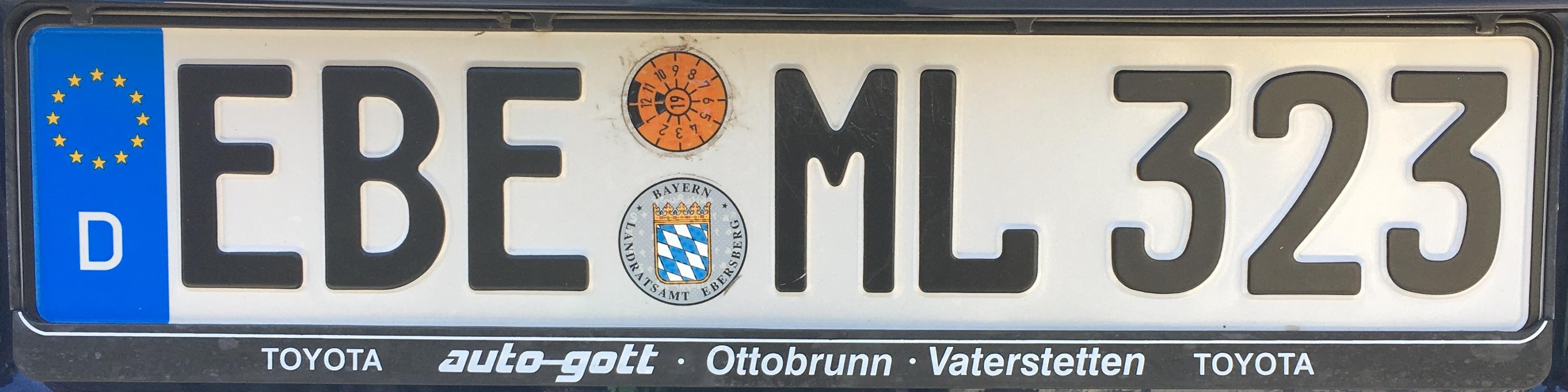 Registrační značky Německo - EBE - Ebersberg, foto: www.podalnici.cz