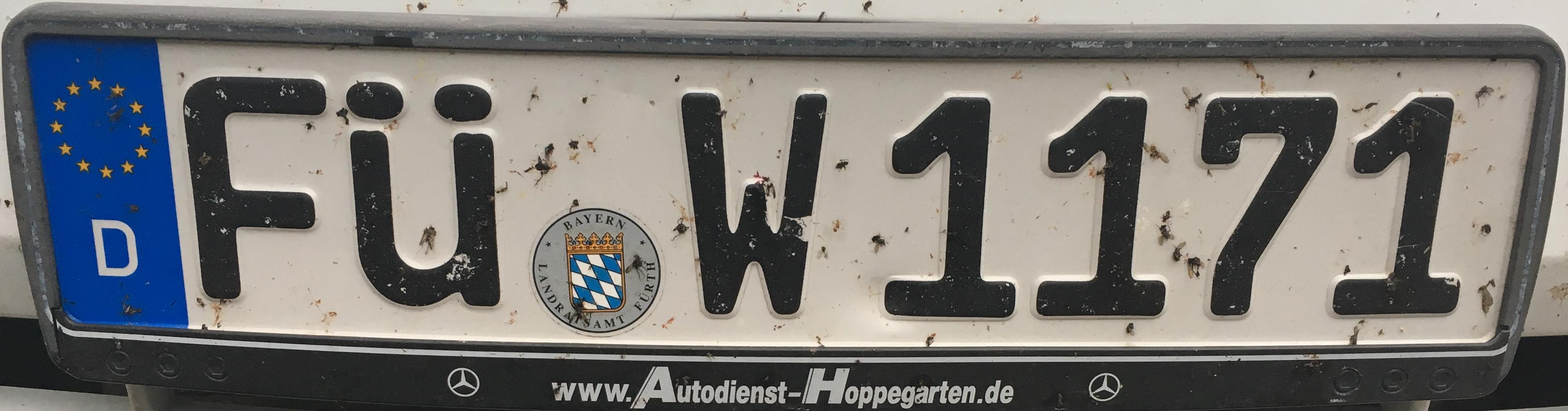 Registrační značky Německo - FÜ - Fürth, foto: www.podalnici.cz