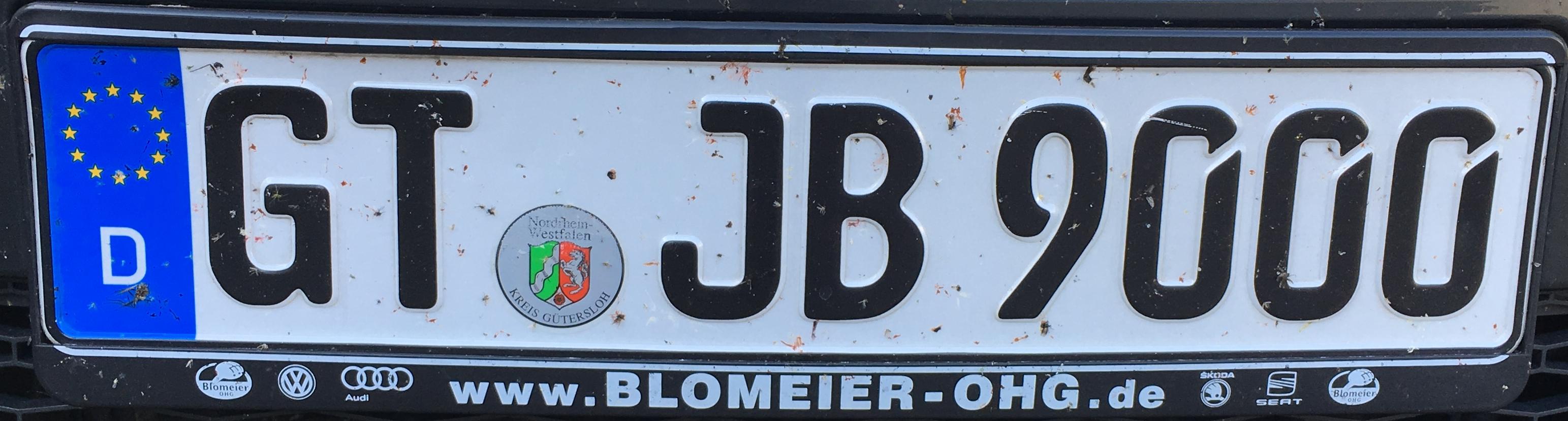 Registrační značky Německo - GT - Gütersloh, foto: www.podalnici.cz
