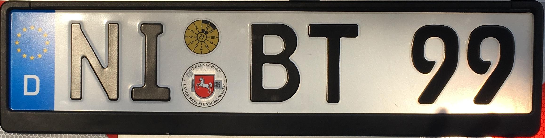 Registrační značky Německo - NI - okres Nienburg, foto: www.podalnici.cz