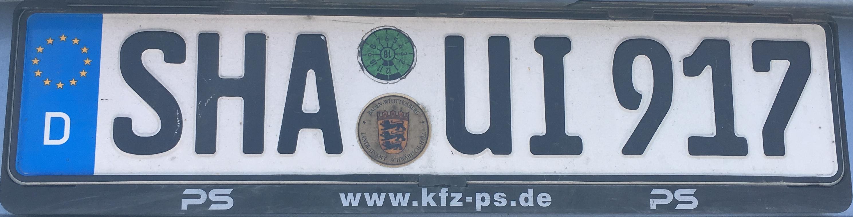 Registrační značky Německo - SHA - Schwäbisch Hall, foto: www.podalnici.cz