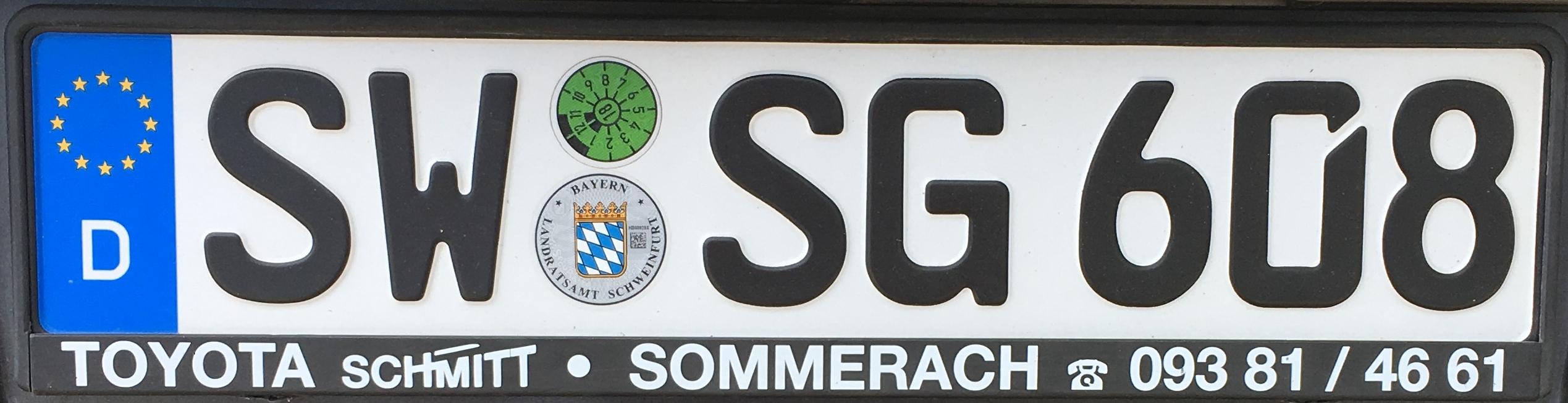 Registrační značky Německo - SW - Schweinfurt, foto: www.podalnici.cz