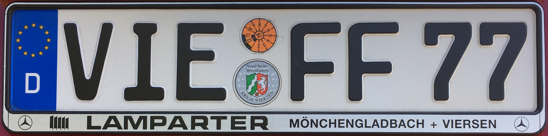 Registrační značky Německo - VIE - okres Viersen, foto: www.podalnici.cz