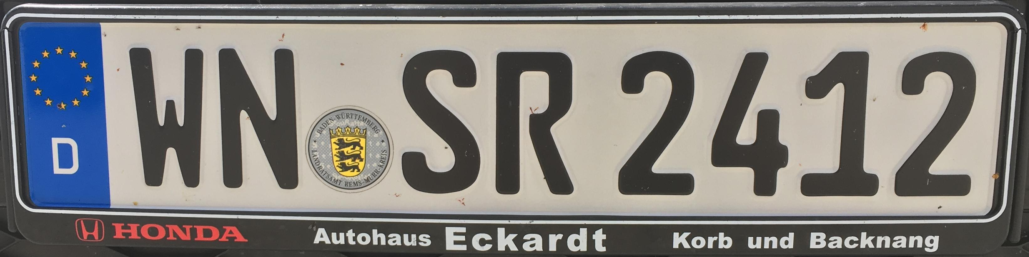 Registrační značky Německo - WN - Rems-Murr-Kreis, foto: www.podalnici.cz