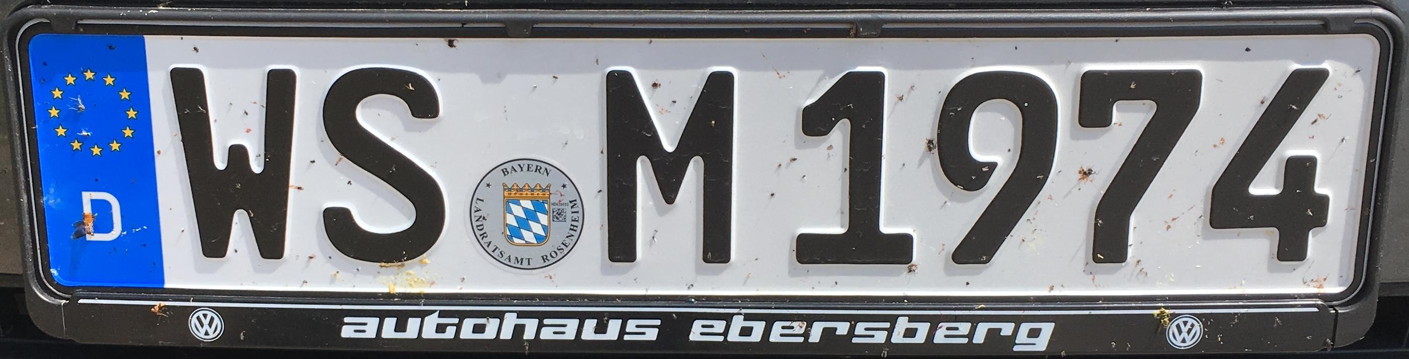 Registrační značky Německo - WS - Wasserburg am Inn, foto: www.podalnici.cz