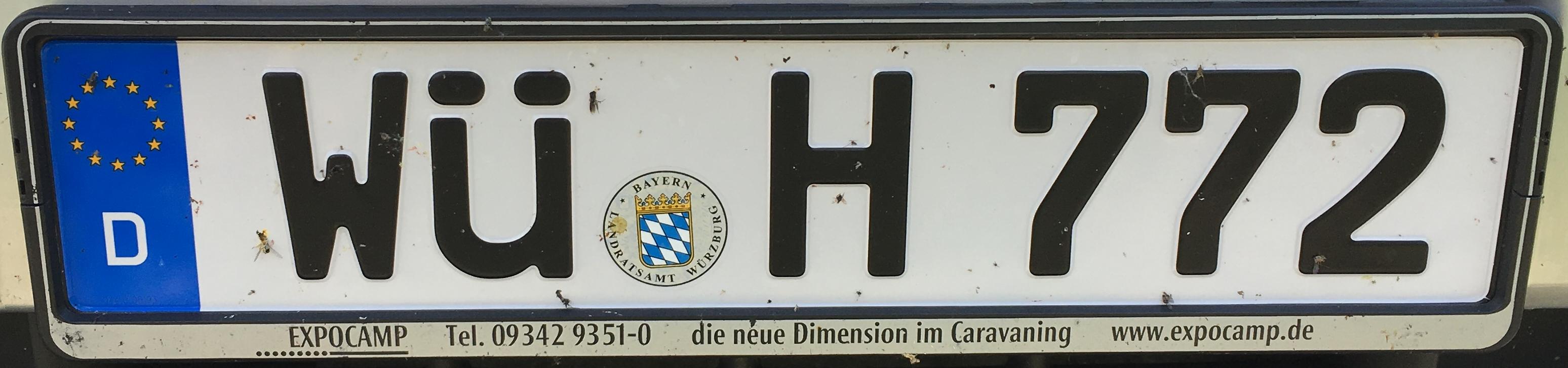 Registrační značky Německo - WÜ - Würzburg, foto: www.podalnici.cz
