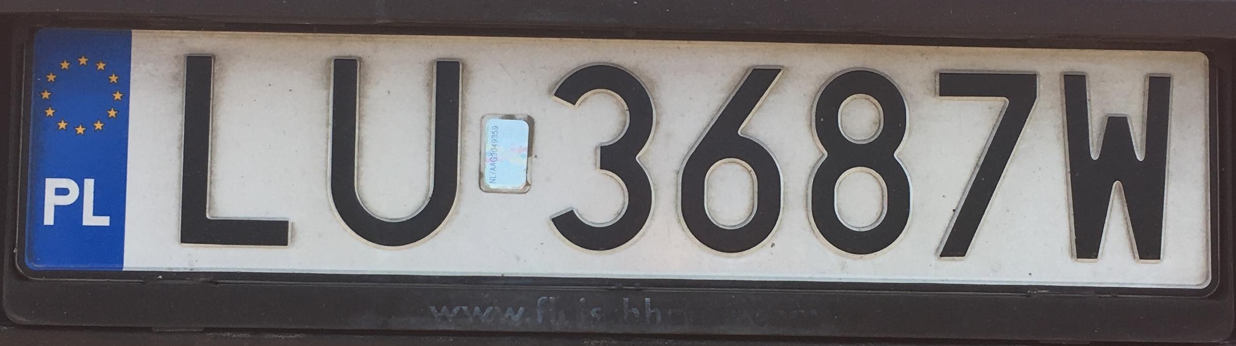 Registrační značka Polsko – LU – Lublin, foto: www.podalnici.cz