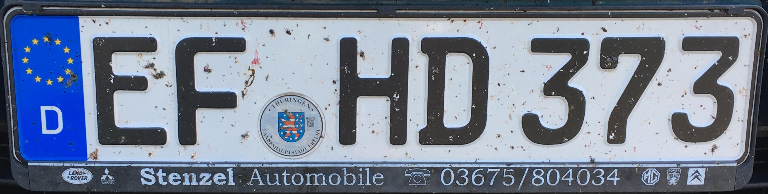 Registrační značka Německo – EF - Erfurt, foto: www.podalnici.cz